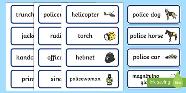 police role play word cards  teacher made