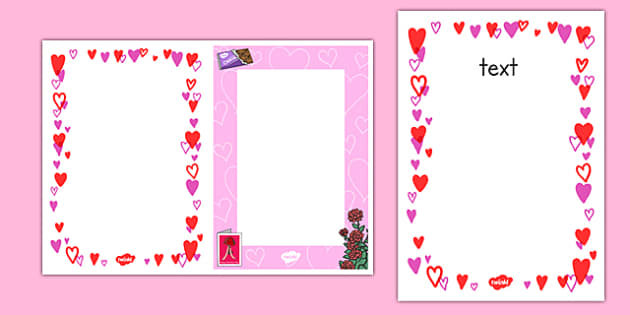 Themed Valentine S Day Template Teaching Resource