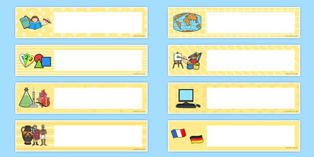 school subject themed editable gratnells tray labels