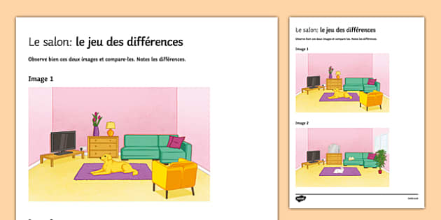 Living room spot the differences worksheet activity sheet for Living room in french language