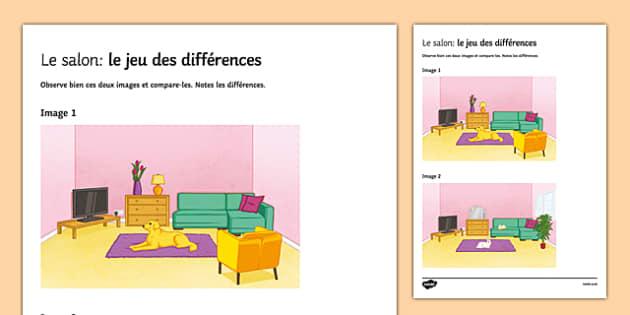 living room spot the differences worksheet activity sheet. Black Bedroom Furniture Sets. Home Design Ideas