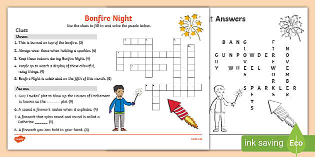 Ks1 Bonfire Night Crossword Teacher Made