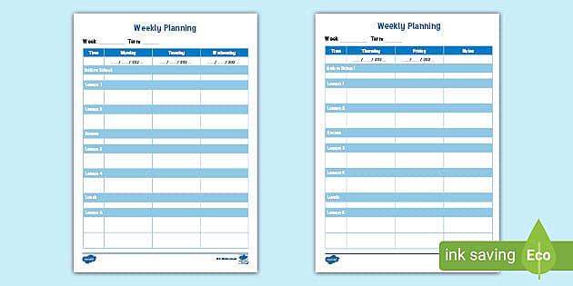 Weekly Lesson Plan Early Years Template Teacher Made
