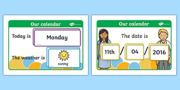 Kindergarten Calendar Powerpoint : Daily weather calendar chart calender