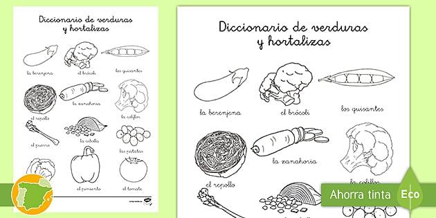 Hoja De Colorear Diccionario De Verduras Y Hortalizas