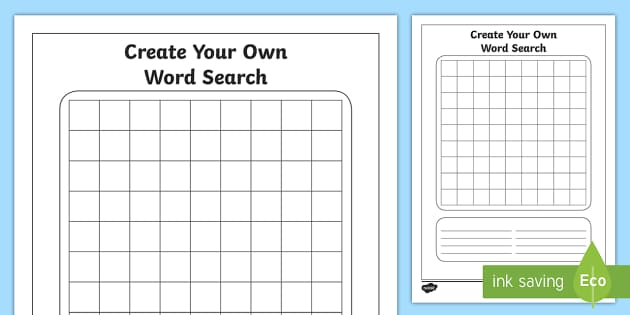 Blank word search worksheet activity sheet spelling for Create your own word search template