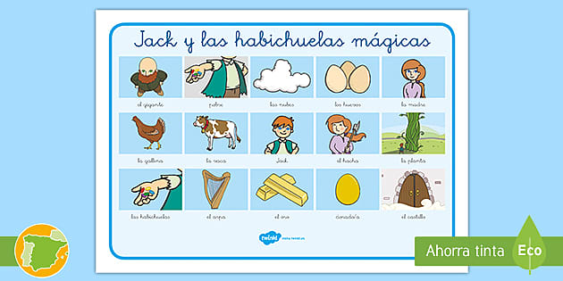 Tapiz De Vocabulario Jack Y Las Habichuelas Mágicas