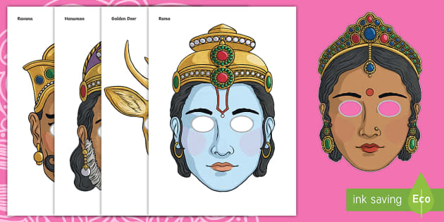 Ravana mask template 28 images rama and sita story role play.