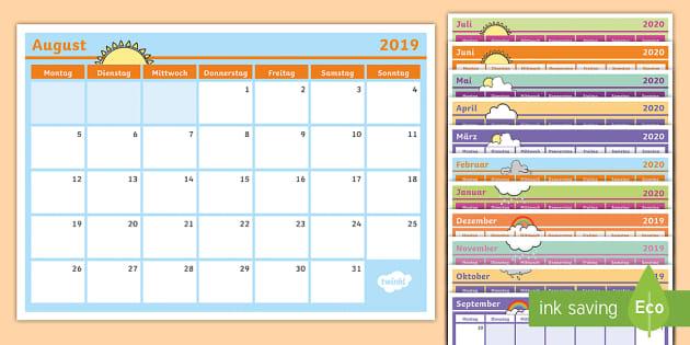 2019-2020 Kalender zum Selbstgestalten