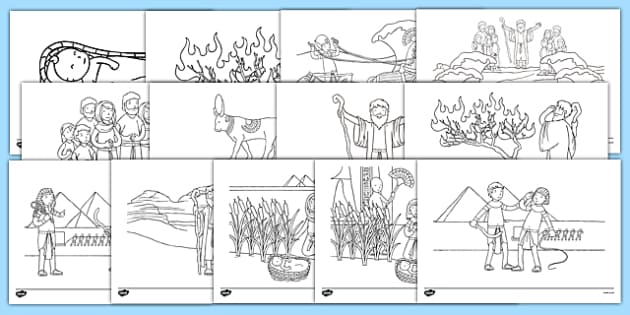Moses Story Colouring Sheets Moses Egypt Hebrews