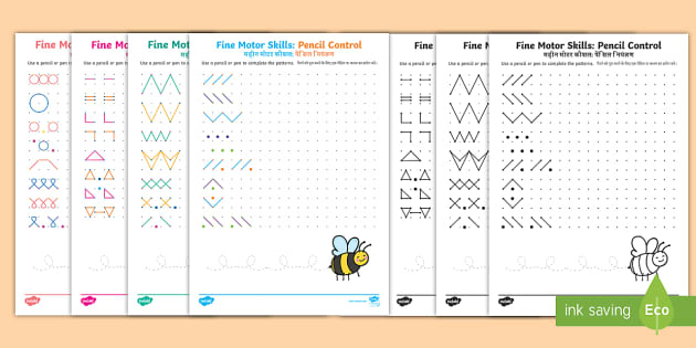 new fine motor skills pencil control on dotted worksheets english. Black Bedroom Furniture Sets. Home Design Ideas