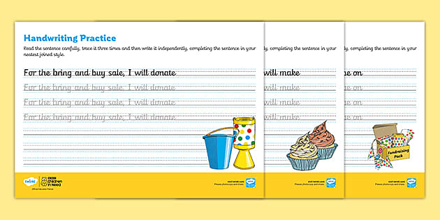 FREE! - Free Cursive Handwriting Practice Sheets - Children In Need