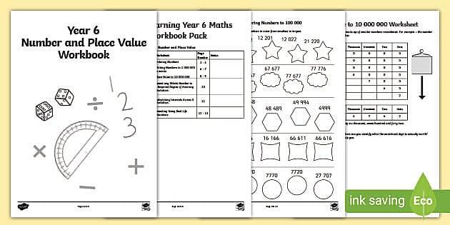 KS2 Year 6 Maths Worksheets - Number & Place Value Workbook