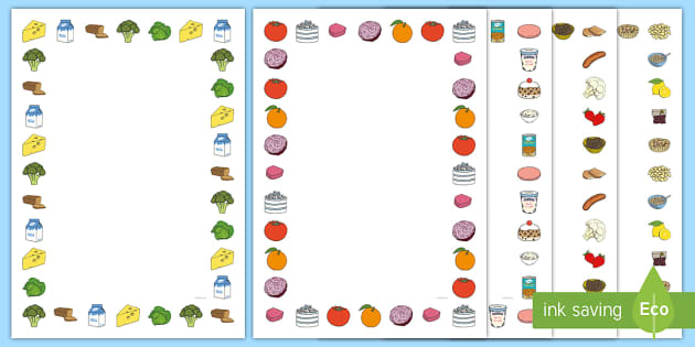 Free Fruit And Vegetables Themed A4 Page Borders
