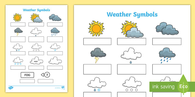 weather symbols worksheet - science resource