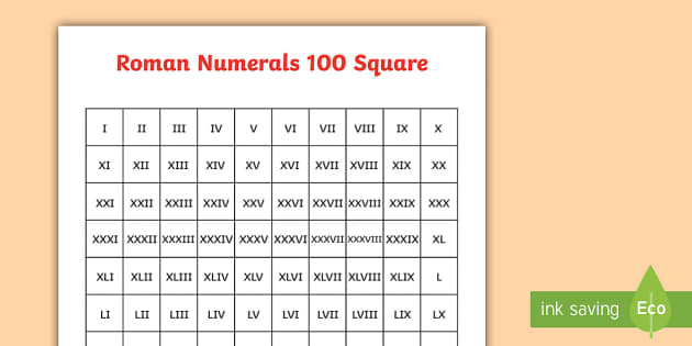 Worksheet 1 To 100 Roman Words roman numerals 100 square numerals