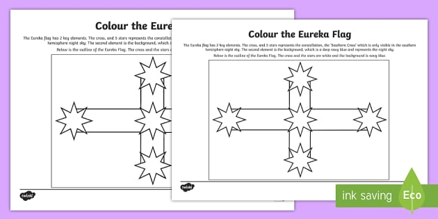 Eureka Flag Colouring Page Australian Colony Achassk108 Gold