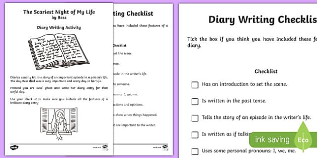 writing a diary entry ks2 checklist for wedding