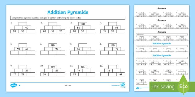addition pyramids worksheet addition pyramids addition worksheets ks2. Black Bedroom Furniture Sets. Home Design Ideas
