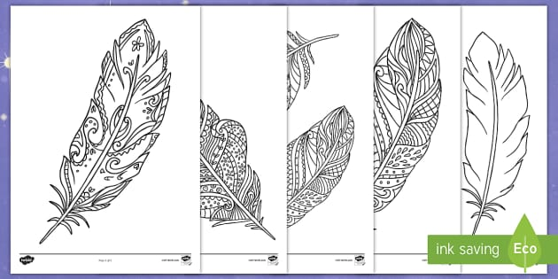 Zen Tangle Stylized Feather Coloring Page Stock Vector (Royalty ... | 315x630