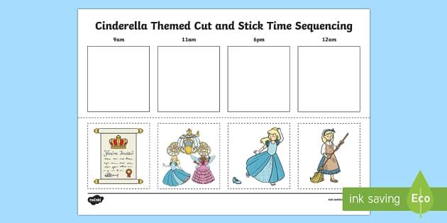 cinderella themed cut and stick time sequencing worksheet worksheet. Black Bedroom Furniture Sets. Home Design Ideas