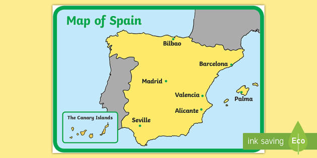 Detailed Map Of Spain In English.Spain Display Map Spain Map Country Countries Continents Display