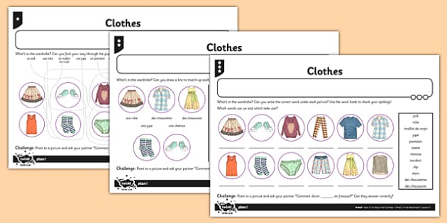 french clothes 1 worksheet worksheet french clothes activity worksheet. Black Bedroom Furniture Sets. Home Design Ideas