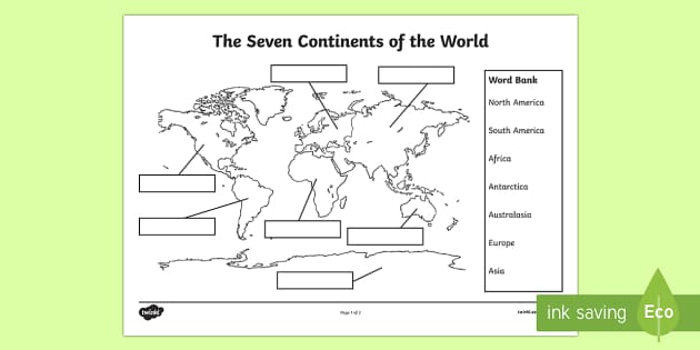 Name and locate the worlds seven continents and the seven continents labelling worksheet activity sheet gumiabroncs Choice Image