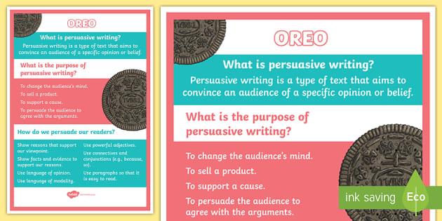 OREO What Is Persuasive Writing Display Poster OREO