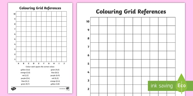 colouring grid references worksheet  teacher made