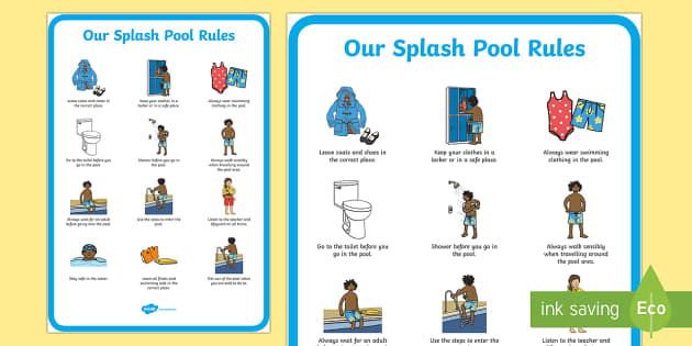 Splash pool rules primary display poster sen resources - Rules and regulations of swimming pool ...