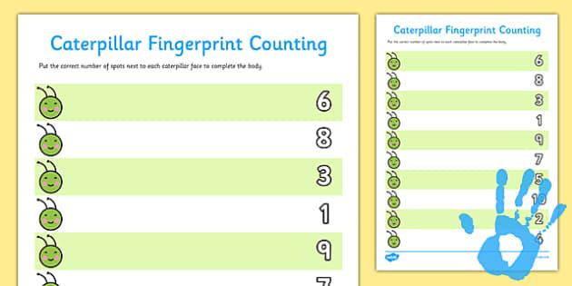 Caterpillar Fingerprint Counting Worksheet Twinkl