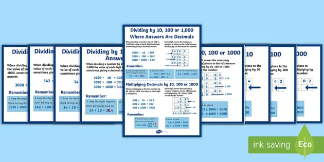 Multiplying and Dividing Decimals by 10, 100 and 1000 Display