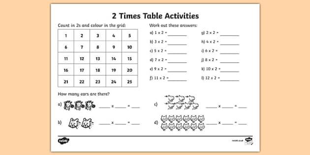 2 times table worksheet ks1 ks2 maths. Black Bedroom Furniture Sets. Home Design Ideas
