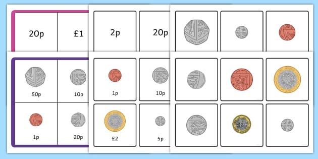 british money coin recognition matching bingo game money. Black Bedroom Furniture Sets. Home Design Ideas