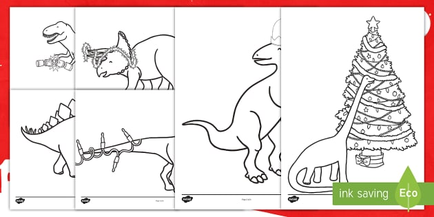 Christmas Dinosaurs Coloring Pages Teacher Made