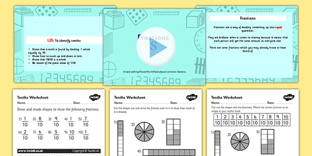 fractions tenths lesson teaching pack year 3 year three fractions year. Black Bedroom Furniture Sets. Home Design Ideas