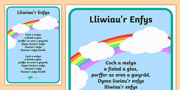Cursive Colours Of The Rainbow Song In Welsh Twinkl