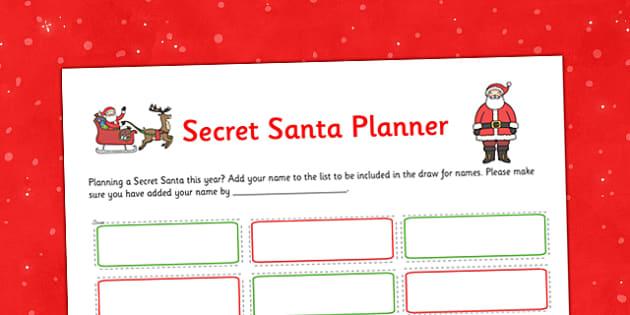 secret santa planner  teacher made