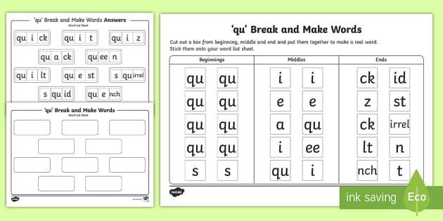 Qu Sound Break And Make Worksheet Teacher Made