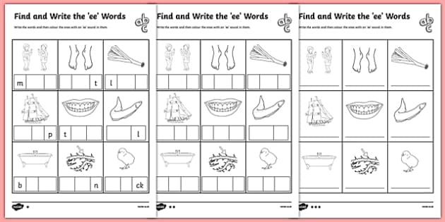 Ee Worksheet - Find and Write the ee Words Differentiated