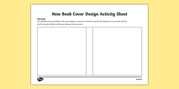 New book cover design worksheet activity sheet irish for Design a book jacket template