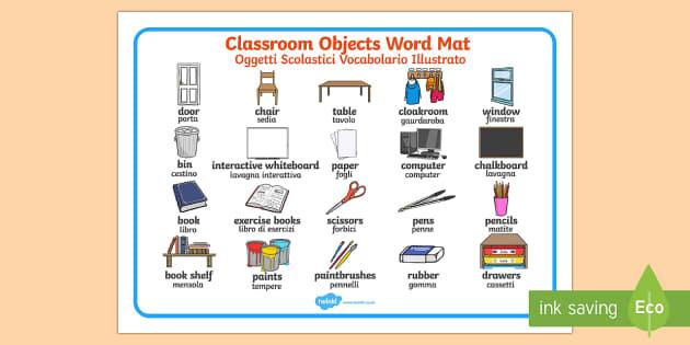 Words In Italian Translated To English: Classroom Objects Word Mat Italian/English