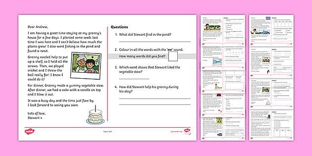 Phase 5 Phoneme Spotter Phonics Comprehension Worksheets