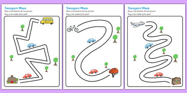transport pencil control path worksheet activity sheets. Black Bedroom Furniture Sets. Home Design Ideas