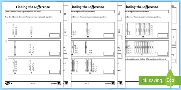 Year 2 Finding the Difference Differentiated Worksheets