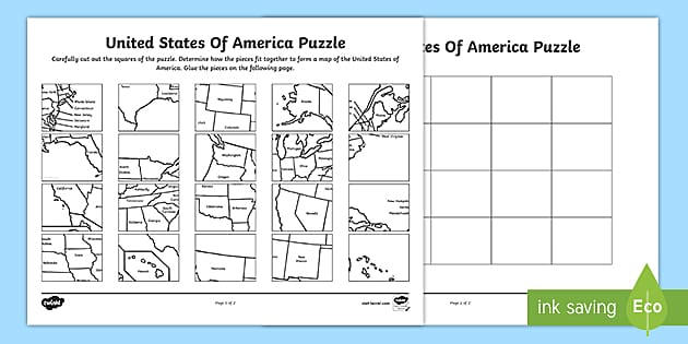 United States Map Printable Puzzle (teacher made)
