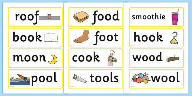 Long and Short 'oo' Word Cards - word cards, words, cards, oos