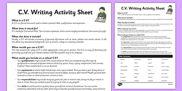 cv worksheet    activity sheet
