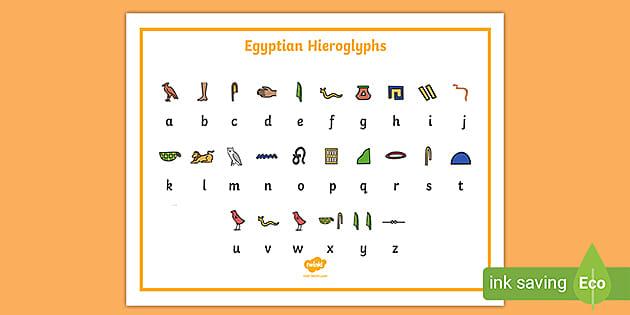 Egyptian Hieroglyphic Alphabet Chart - Primary Resources